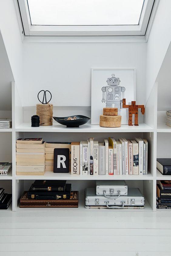 bookshelves under the roof