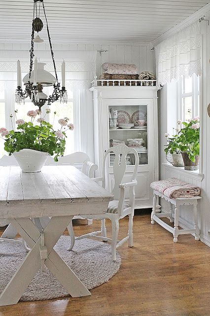 rustic and shabby chic whitewashed kitchen
