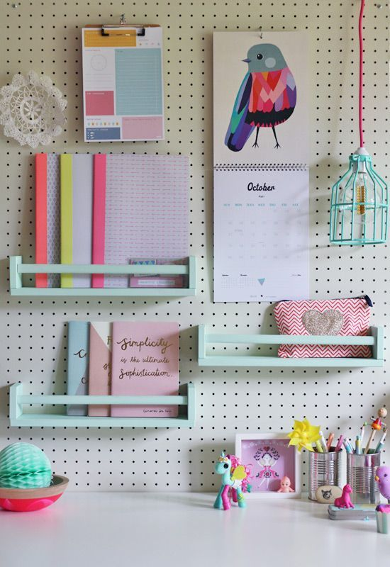 shelves attached to the pegboard