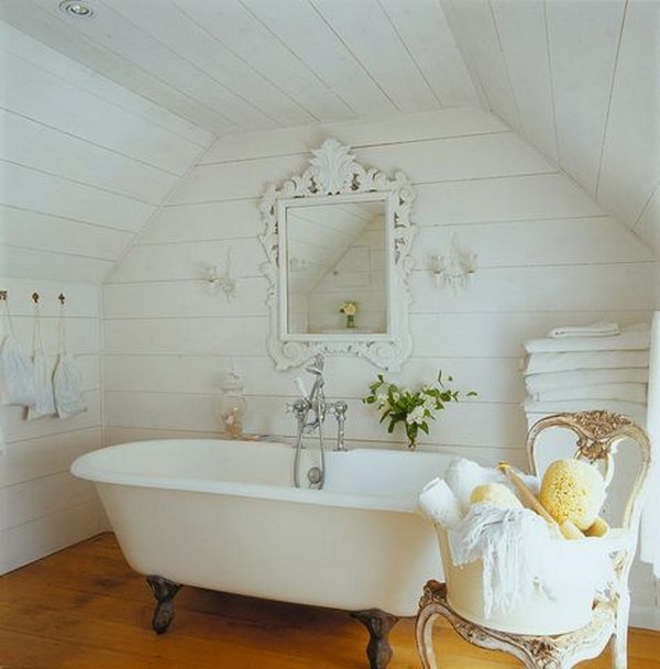 Whitewashed Wood Clad Shabby Bathroom