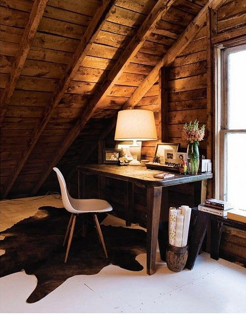 attic home office nook