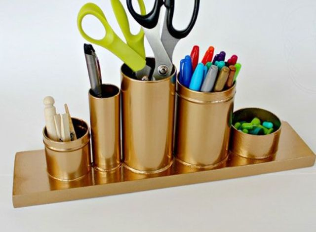 copper tin cans for pens and scissors