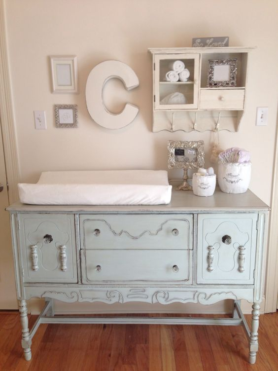 serenity vintage changing table from a vintage sideboard