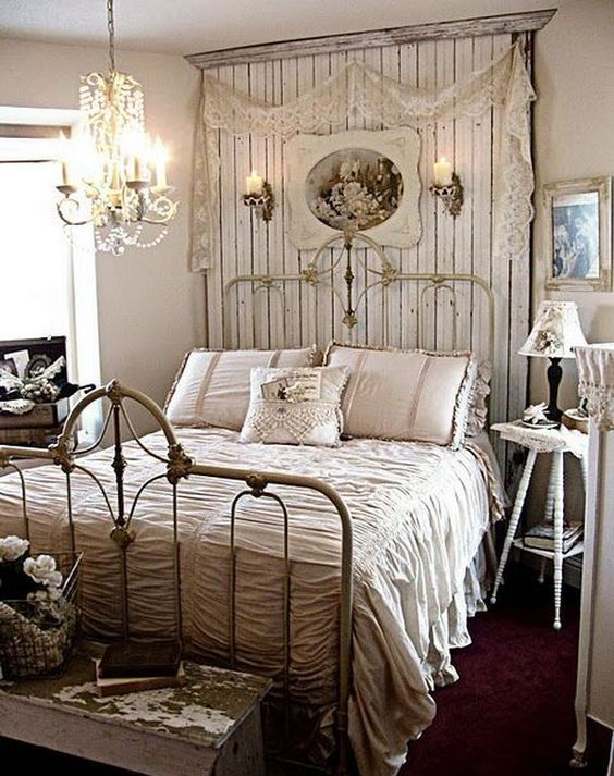 shabby chic bedroom with rustic touches
