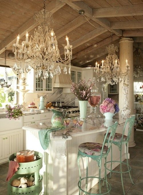 shabby chic kitchen decor with floral patterns