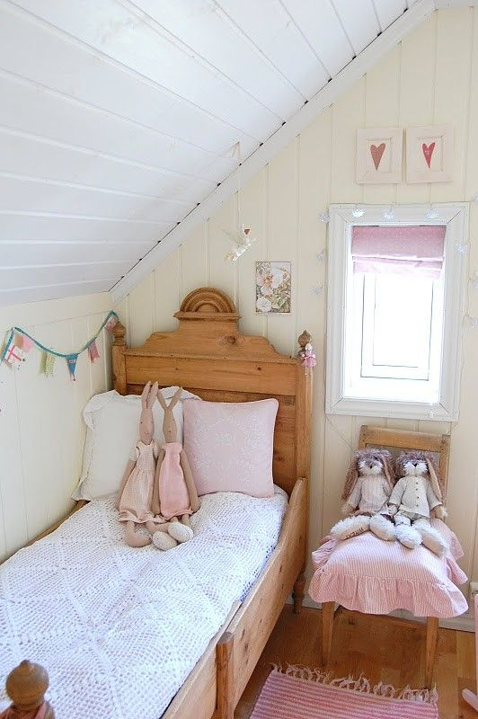 vintage attic girls' room with blush accents