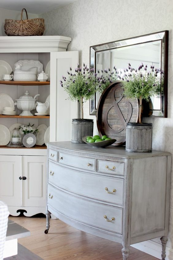 whitewashed shabby buffet