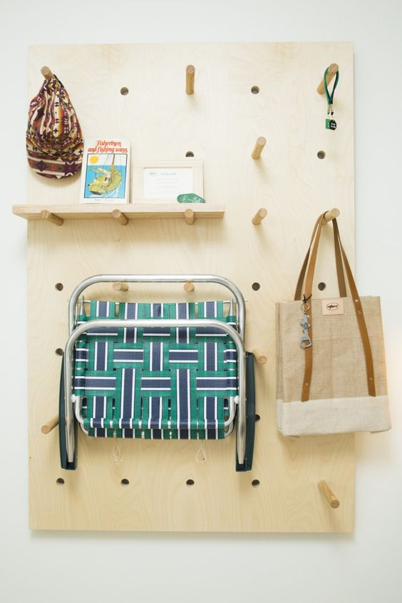 wooden pegboard storage