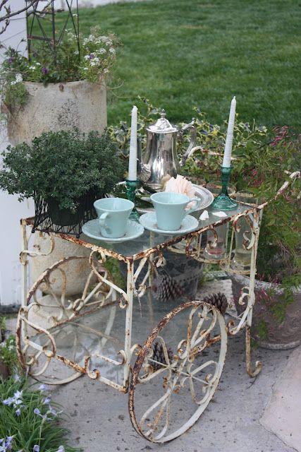 aged shabby chic tea cart