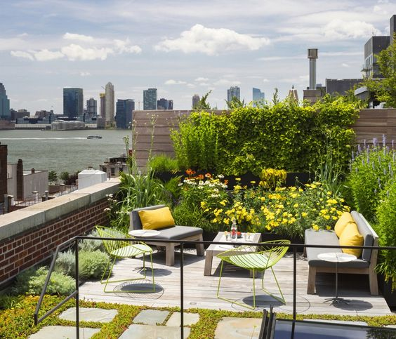 bold floral rooftop garden