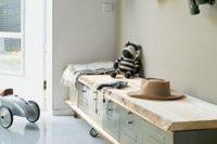 21 industrial mudroom bench on wheels