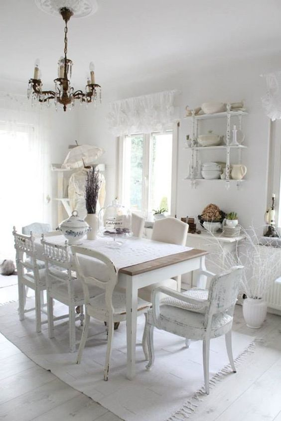mix and match whitewashed shabby chairs