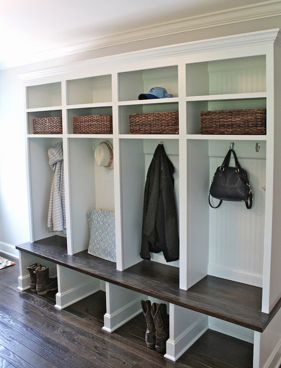 open shelving units for mudrooms