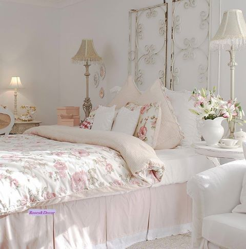 Shabby Chic Bedroom With A Metal Screen Headboard