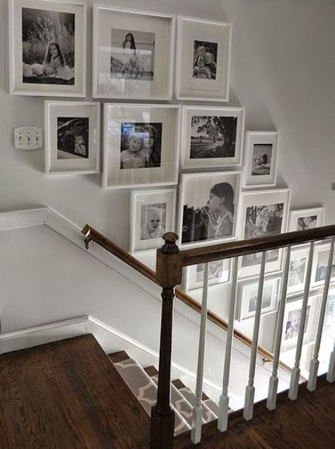 white frames of different size  on the stairway