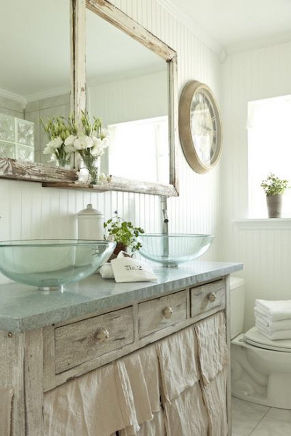 White Shabby Chic Bathroom With Sink Skirts