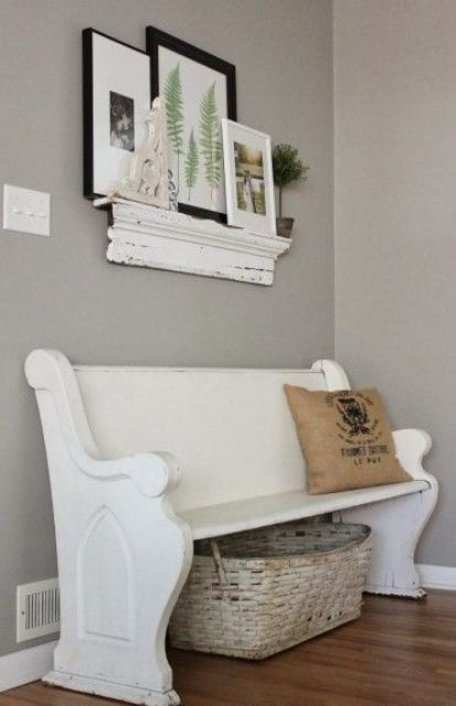whitewashed shabby chic bench