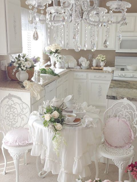 Picture of provence styled shabby chic kitchen in white for Deco shabby chic pas cher