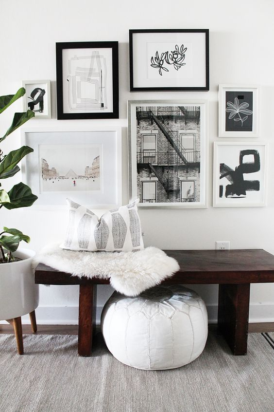 Black And White Gallery Wall how to create an art gallery wall: 5 tips and 25 ideas - shelterness