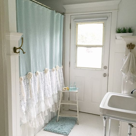 Superb boho and shabby lace bathroom curtain
