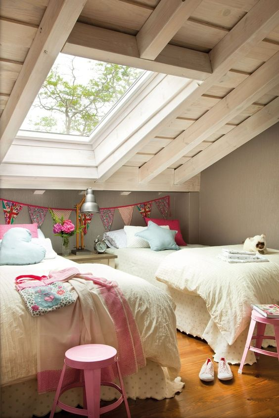 vintage attic shared girls' room