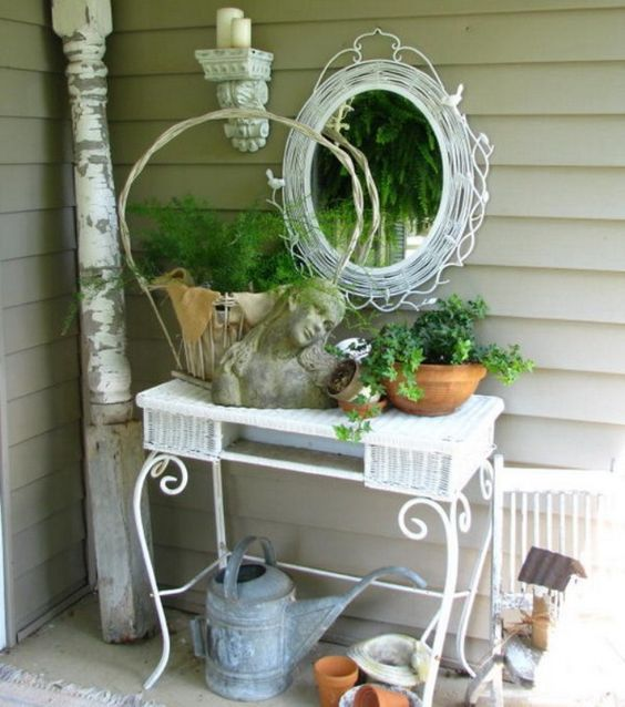 shabby chic bust, whitewashed woven framed mirror