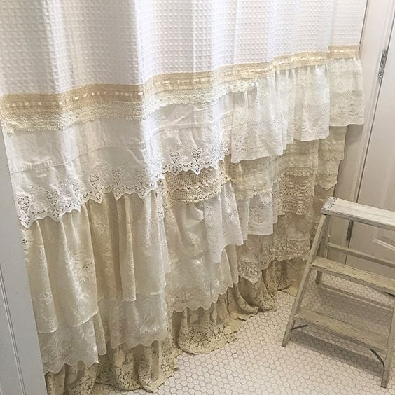 shabby chic lace bathroom curtain