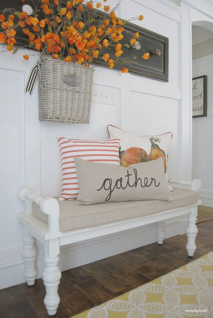shabby chic whitewashed mudroom bench