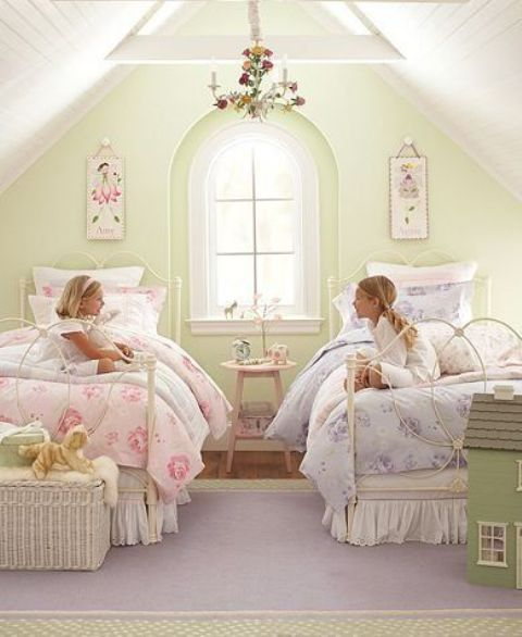 vintage attic shared girls' room with floral prints