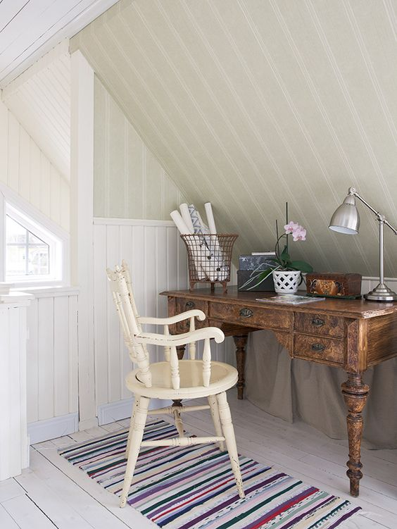 vintage home office nook in the attic