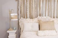 24 shabby chic burlap and lace textile headboard