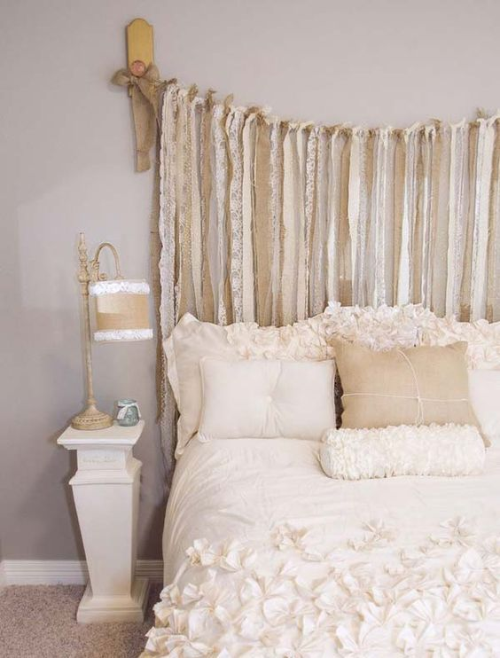 shabby chic burlap and lace textile headboard