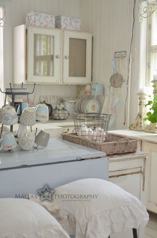 shabby kitchen furniture  in white and pastels