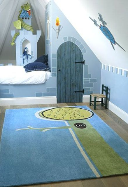castle-themed boys' attic room