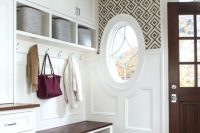 26 mudroom cabinets and a storage bench