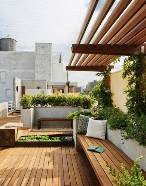 rooftop row garden with a wooden deck