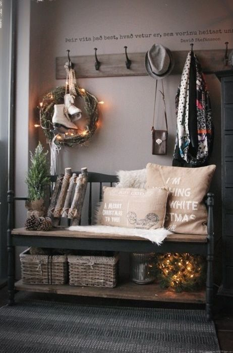 vintage-inspired wooden bench with storage space