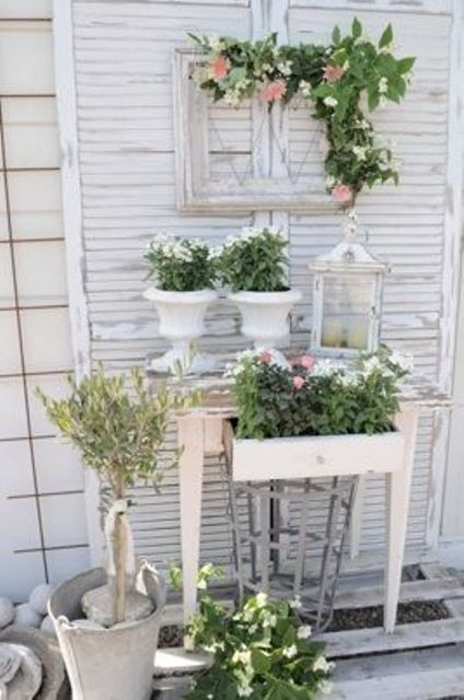 whitewashed frames and pots for a shabby chic terrace