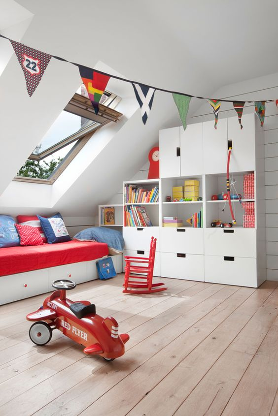 cozy attic boys' bedroom