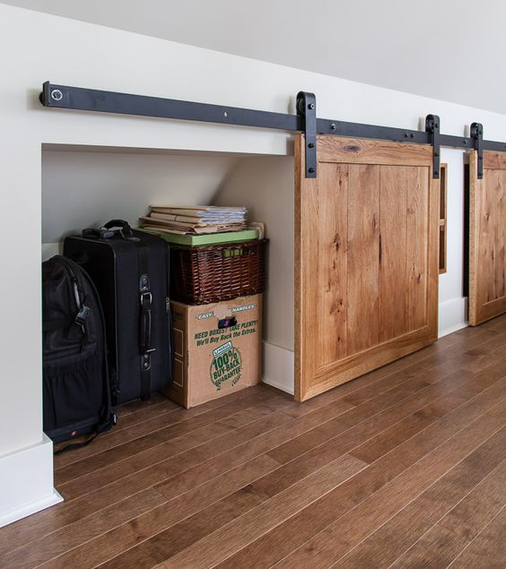 under the eaves storage with barn-style mini doors