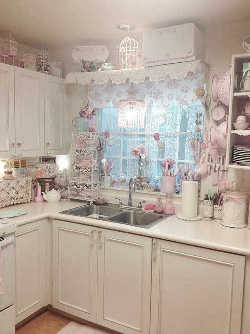 white and pink shabby chic kitchen