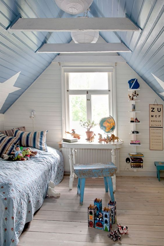 shabby chic boys' attic room