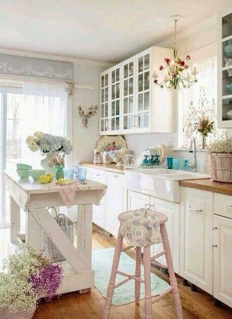 whitewashed and distressed kitchen