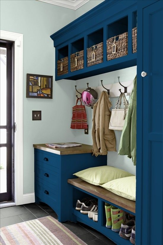 navy mudroom locker with a storage bench