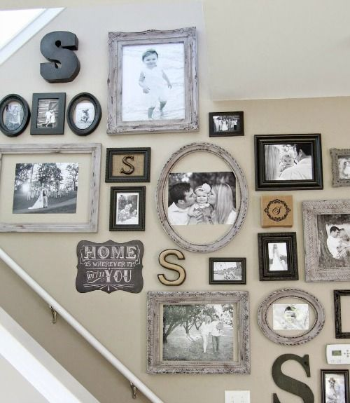 Photo Wall Ideas With Different Frames : Stairway gallery wall ideas to get you inspired