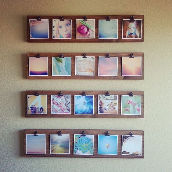 Instagram gallery wall in wooden planks