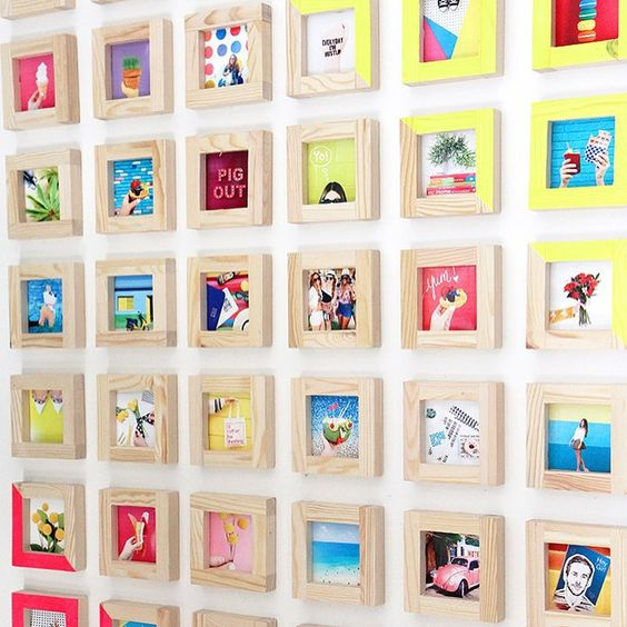 Instagram prints in light wood frames