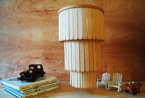 DIY popsicle stick chandelier (via designsponge)