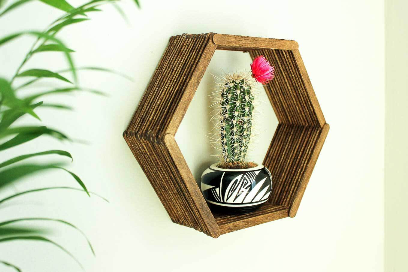 DIY popsicle stick hexagon wall shelf