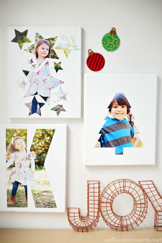 DIY cutout photo canvas (via millionmoments)